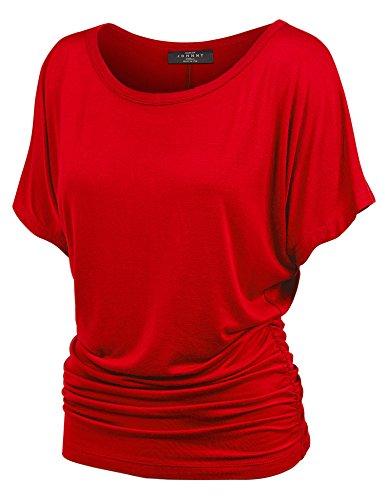 MBJ WT817 Womens Dolman Drape Top with Side Shirring XXL RED