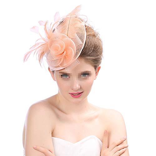 Chapeau De Fascinators Éternelle Et Élégante Vintage Fleur Rose Style Fascinator Chapeau Rugissant Des Années 1920 Coiffure Pour Les Femmes Pour Cocktail Royal Ascot ( Color : Meat powder )