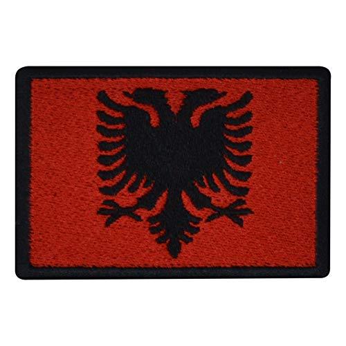 benobler FanShirts4u Aufnäher - ALBANIEN - Fahne - 8 x 5,5cm - Flagge Wappen Bestickt Patch Badge Albania (Schwarze Umrandung)