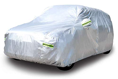 AmazonBasics Silver Weatherproof Car Cover - PEVA with Cotton, SUVs up to 203'