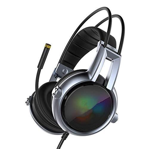 WyaengHai Casque De Jeu Casque de Jeu général des Jeux Souple et Flexible stéréo Vibrant Contour d'oreille Light Emitting Diode lumière Noire Écouteurs (Color : Black, Size : M)