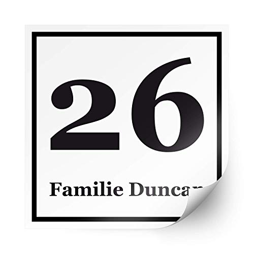 foliado® Hausnummer Familie Name für Briefkasten selbstklebender Aufkleber Milchglasfolie Digitaldruck Folie für Haustür Glasdekor Namensschild | Größe nach Wahl | #APD-031 (10 x 10 cm)