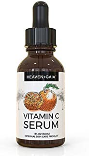 HeavenGaia Vitamin C Face Serum, Topical Acne Serum with Hyaluronic Acid and Vitamin E, 1 Ounce