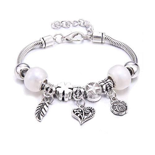 Pulsera y brazaletes de 6 colores con diseño de rosas y hojas de cristal para mujer, joyería de moda, regalo de amistad