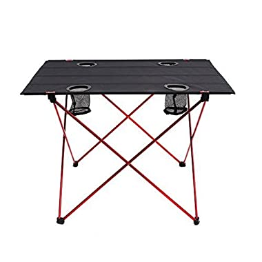 OUTRY Lightweight Folding Table with Cup Holders, Portable Camp Table (L - Unfolded: 29.5  x 22  x 21 ), Outdoor Picnic Camping Backpacking Beach Patio Collapsible Foldable Light Weight Table