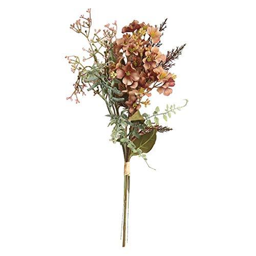 ToDIDAF 1 Strauß mit 3 Blumen Kunstblumen Kunstpflanze Künstliche Blumen Künstliche Pflanze für Weihnachten Geburtstag Hochzeit Wohnzimmer Büro Cafe Desktop Deko 42cm (Kaffee)