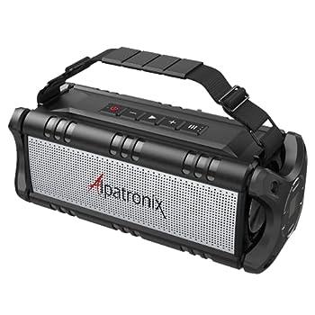 Waterproof Bluetooth Speaker 60W  80W Max  Portable Wireless 8000mAh Power Bank Handsfree Shockproof TWS DSP Stereo Subwoofer TF Card NFC Alpatronix AX500 Indoor & Outdoor – Black