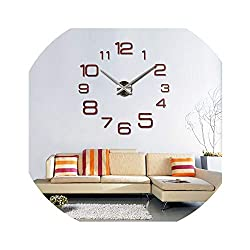Fashion Large Wall Clock Modern Design Acrylic Mirror Clocks Europe 3D Stickers Large Decorative Watch Living Room,Red,47 inch