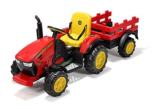 ZLH 12V Ride En Tractor con Remolque, Vehículo Agrícola Eléctrico Eléctrico con Batería, Cargador De Tierra De Coche De Juguete con 2 Velocidades, Vagón Desmontable, Playa MP3,Rojo