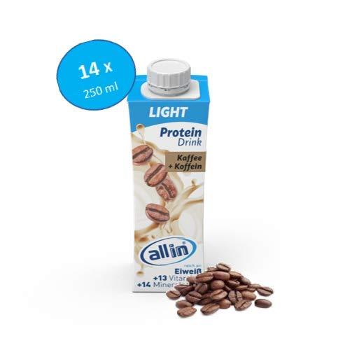 all in® LIGHT Protein Drink Kaffee 14 x 250ml - Diät Shakes zum Abnehmen mit extra Koffein und ohne Zuckerzusatz   Low Carb Lebensmittel Eiweiß Shake Meal Replacement