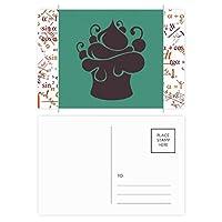 ブラックフルーツのアイスクリームのシルエット 公式ポストカードセットサンクスカード郵送側20個