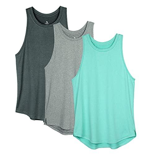 icyzone Femme Débardeur de Sport Dos Nageur Yoga Shirt sans Manches Running Fitness Jogging Tank Top, Lot de 3 (M, Noire/Gris/Ice Green)