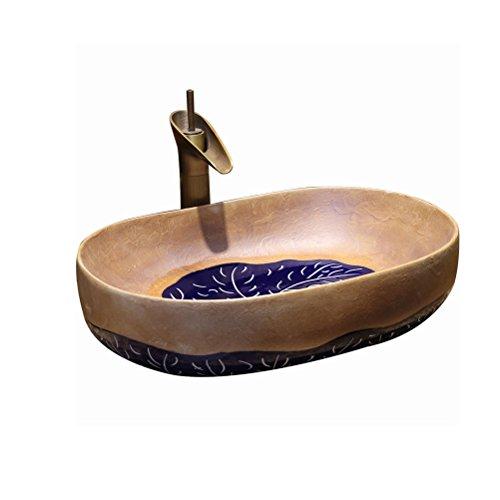 Art rétro au-dessus du comptoir bassin salle de bains lavabo en céramique bassin unique bassin de lavage américain étape (60x40x15cm) Meubles-lavabos