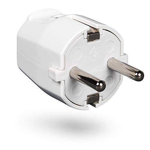 HEITECH PVC Schutzkontakt Stecker bruchsicher - Schutzkontaktstecker weiß, 250V, 16A, IP20 für Innenbereich - Schuko Stecker