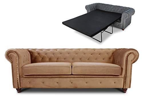 Schlafsofa Chesterfield Asti Bis 3-Sitzer, Sofa mit Schlaffunktion, Couch 3-er, Couchgarnitur, Sofagarnitur, Holzfüße, Polstersofa (Beige (Velvet 28))