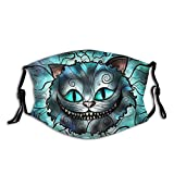 Cheshire Cat Mask Cute Cartoon Mask Reusable Washable Face Mouth Mask Balaclava with Activated Carbon Filter Warm Windproof Face Mask for Men and Women