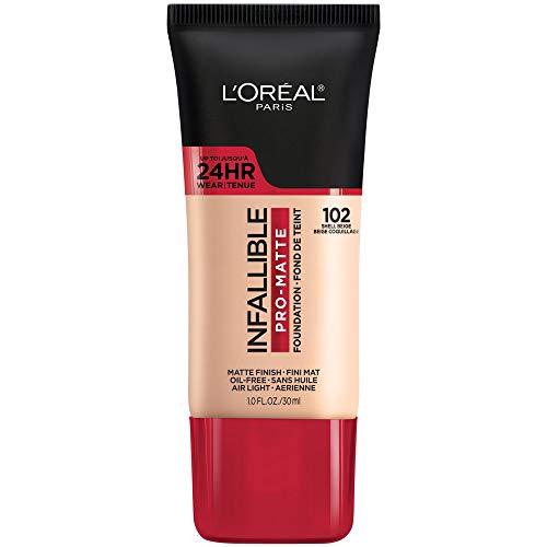 L'Oreal Paris K1828700 Infallible Pro-Matte Liquid Longwear Foundation Makeup, 102 Shell Beige, 1 Fl. Oz.