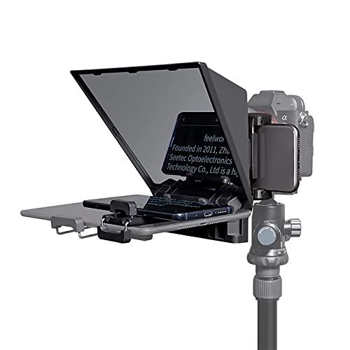 FEELWORLD TP2A - Teleprompter portatile da 8 , supporta fino a 8 pollici, Smartphone Tablet Prompting Smartphone DSLR ripresa con telecomando e anello adattatore obiettivo