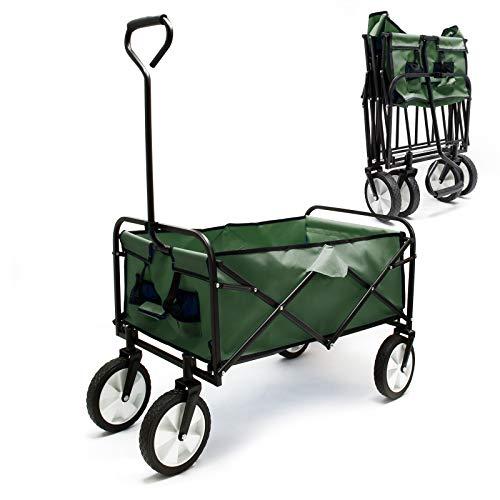Faltbarer Bollerwagen mit Kunststoffreifen & Handgriff, grün, 80x46cm Ladefläche, offroad geeignet