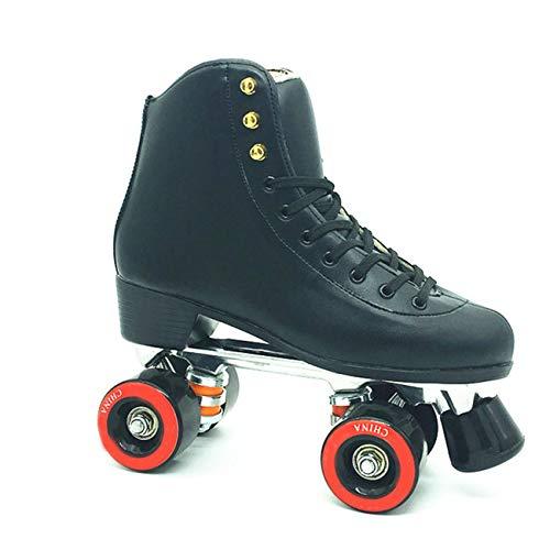 SSCYHT Patines de Ruedas Unisex Quad RollerSkates Patinaje al Aire Libre, Interior y en Pista de Patinaje - Patines de Ruedas clásicos de tacón Alto para Hombres y Mujeres