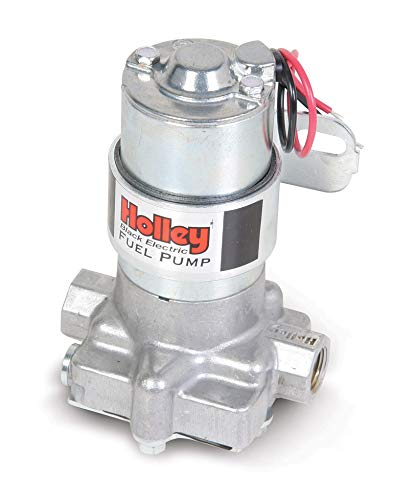 NEW HOLLEY 140 GPH BLACK ELECTRIC FUEL PUMP WITH BRACKET,STREET & STRIP CARBURETED APPLICATION,COMPATIBLE WITH GASOLINE, ALCOHOL & METHANOL