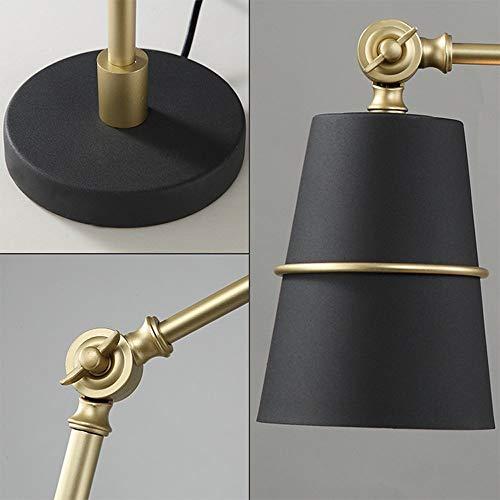 B-D Metall Verstellbare Schwinge Schreibtischlampe Eye-Care Led Eisen Tischleuchte Nachttischlampe Einstellen Nordic Design Leseleuchte, Schwarz