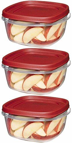 Rubbermaid 608866900504 Lot de 3 boîtes alimentaires carrées avec couvercle facile à trouver Rouge
