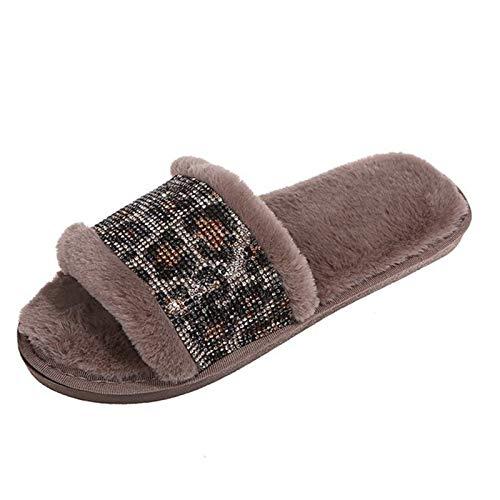SHOE Damas Zapatillas Esponjosas Leopardo Impreso Impreso Rhinestone Slippers Fall/Winter Plano Plano Antideslizante Zapatillas De Ocio,Caqui,41