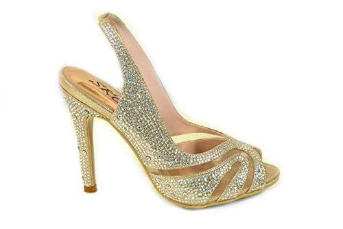 Sandalias de tacón alto para mujer, con correa al tobillo, con diamantes...