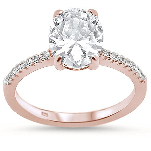Oxford Diamond Co Sterling Silver Rose Gold Plated Oval Cut Cubic Zirconia Engagement Ring Sizes 7