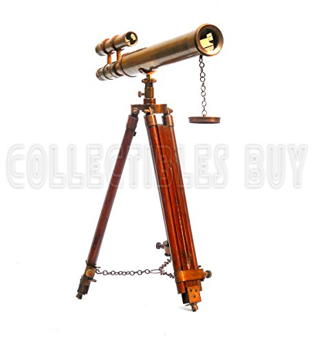 Marina acabado antiguo trípode telescopio doble cañón marítimos