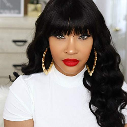 Body Wave Human Hair Wigs With Bangs None Lace Front Wig for Black Women 18inch Machine Made Wigs (Natural Black)