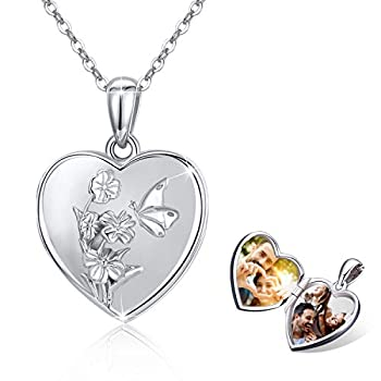 Butterfly Heart Locket Necklace That Hold 2 Photos 925 Sterling Silver 3D Butterfly with Flowers Blooming Locket Necklace Butterfly Jewelry Mother Day Gift for Women Girlfriend Daughter with Gift Box