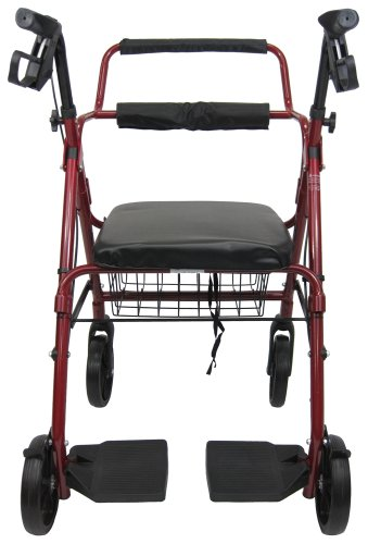 "Karman Healthcare R-4602-T-BD Aluminum 2-in-1 Rollator/Transport, Burgundy, 8"" Casters"
