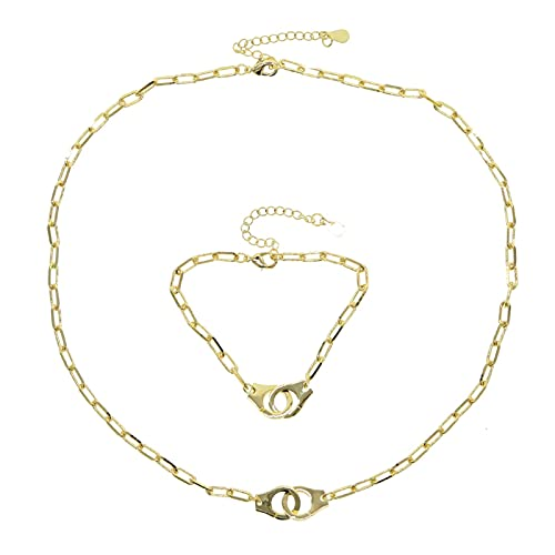 Gold Color handcuffs Punk necklace For Women Bracelets Chain choker necklace Fashion Jewelry Summer Style Gift