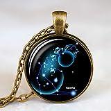 DDDDMMMY Collar,Acuario 12 Constelación Logo Galaxy Colgante Cristal Constelación Diseño Convexo Mujeres Hombres Antigua Joyería Collar De Cadena De Bronce