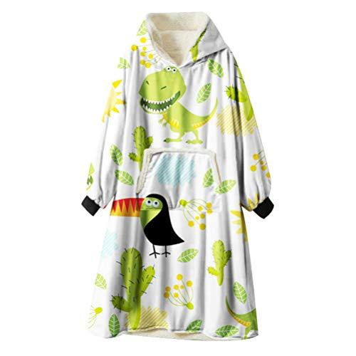 Ouduo Kapuzenpullover Decke, Tier Dinosaurier Druck Übergroße Sherpa Hoodie Weiche Warme Riesen Sweatshirt Blanket Fronttasche Plüsch Pullover Decke mit Kapuze (Kaktus-Tukan,One Size)