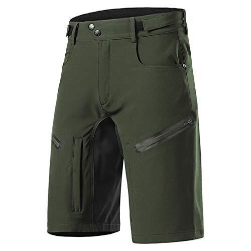 Pantalones Cortos De Ciclismo Hombres Impermeables, Ropa Holgada Bicicletas Montaña MTB Transpirable, Pantalones Descenso Hombres Deportes Al Aire Libre,Verde,M