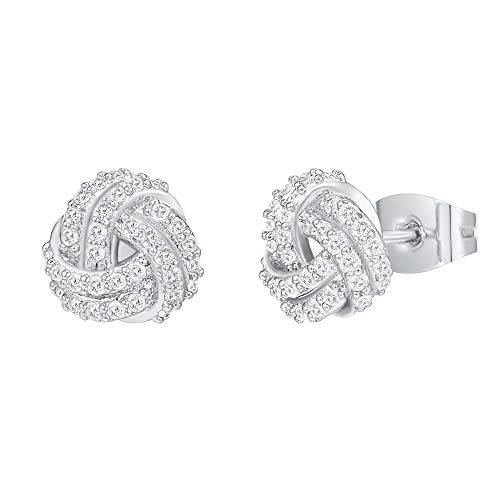 PAVOI 14K Gold Plated Sterling Silver Post Cubic Zirconia Love Knot Stud Earrings, 14K Gold Plated in White Gold