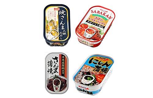 魚缶詰アソート4種×3缶セット(鯖トマトパッツァ/焼きさんま大根おろし/さんま蒲焼/にしん蒲焼)