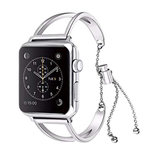 WONMILLE Bracelet for Apple Watch Band 40mm, Classy Stainless Steel Jewelry Bangle for iWatch Bands Strap Wristbands Unique Fancy Style for Women Girls with Pendant and Tassel (40mm Silver)