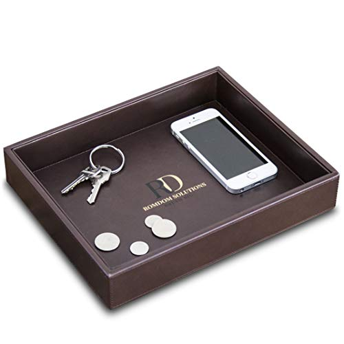 RomDom Leather Valet Tray, Decorative Tray, Catch All Edc Tray-Phone, Wallet, Keys, Accessories Nightstand Organizer, Dresser Organizer, Side Tray, Brown, 10.2 X 8.4 X 1.8'