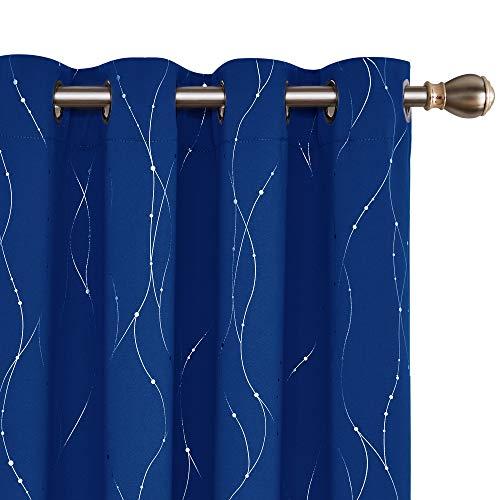 Deconovo blickdichter schallschutz verdunkelung Thermo Königsblau 240x140 cm 2er Set
