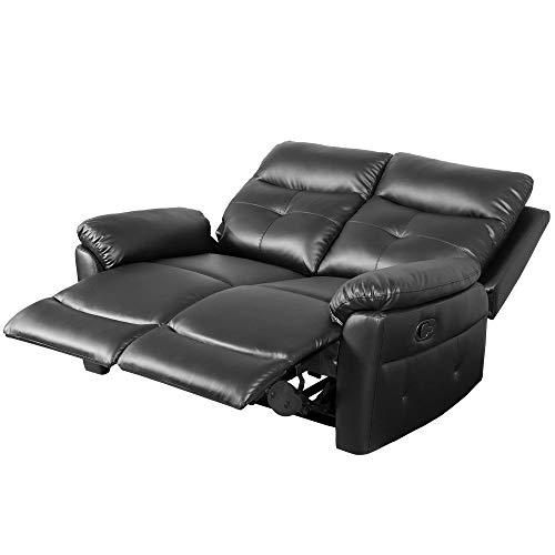 belupai Juego de sofá reclinable de piel sintética de lujo, sofá reclinable, suite, sillones, sillones, disponibles para el hogar, salón, sala de estar (2 plazas)