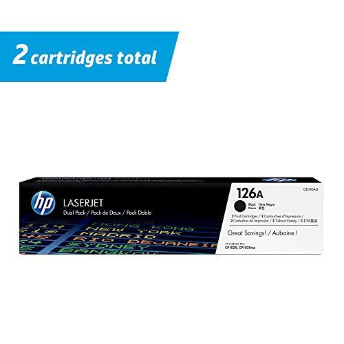 HP 126A (CF341A) originele toner blauw/geel/rood voor HP Color Laserjet Pro + HP 126A blauwe toner zwart, dubbele verpakking 1 zwart verpakking van 2