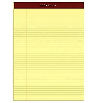 TOPS Docket Gold Writing Pads 8-1/2  x 11-3/4  Narrow Rule Canary Paper 50 Sheets 6 Pack  63941