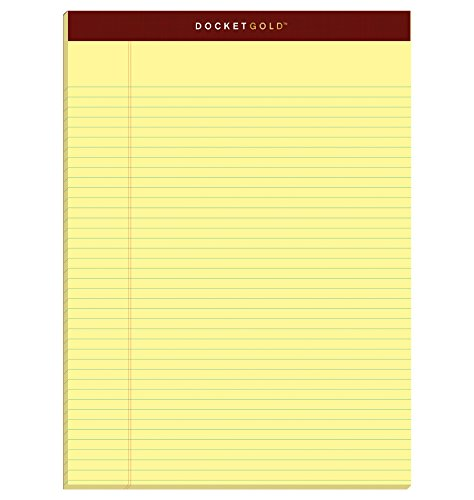 "TOPS Docket Gold Writing Pads, 8-1/2"" x 11-3/4"", Narrow Rule, Canary Paper, 50 Sheets, 6 Pack (63941)"