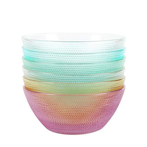 Shopwithgreen Cuencos de vidrio de 10 onzas – 10 cm colorido pequeño tazón de vidrio para preparación de cocina, postre, dulces, platos, nueces, aperitivos, inmersiones, juego de 6