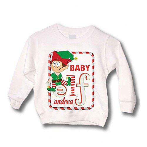 Felpa Bimbo Natalizia Personalizzata Elf Family Maglione Caldo per Bimbi