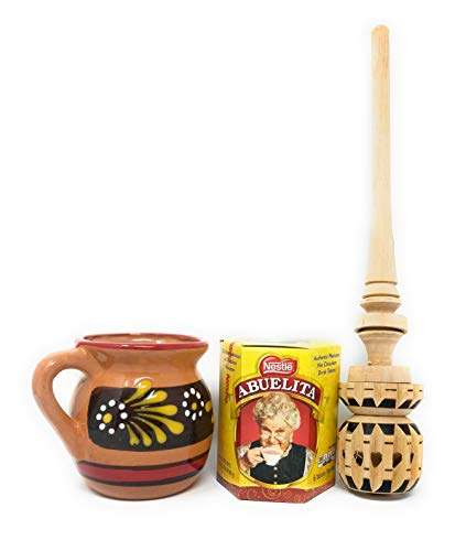 Abuelita Chocolate with Molinillo Whisk and Mexican Jarrito (clay mug) DESIGNS AND COLOR ON JARRITO WILL VARY